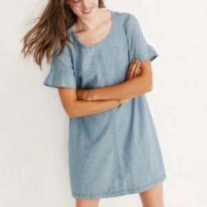 NEW Madewell Chambray TBow Back Shift Dress